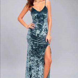 NWT Lulus Crushed Blue Velvet Maxi Dress Size XL